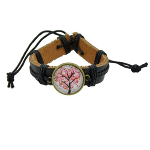 Tree of life 5 type PU leather bohemia style bracelet