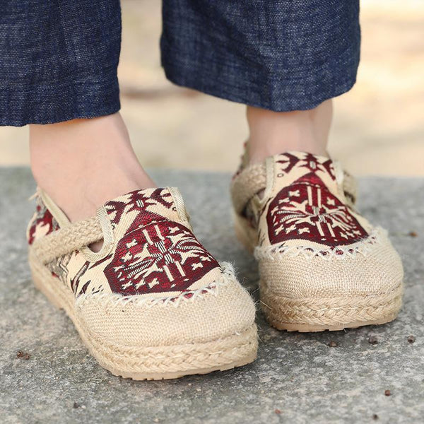 Ethnic Exqusite Embroidery Knitted Sandal Cloth Shoes For Women