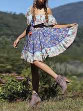 Load image into Gallery viewer, Blue Off-the-shoulder Bohemia Mini Chiffon Floral Print Dress Beach Style Vacation Dress