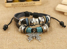 Load image into Gallery viewer, 1PCS Fashion Women Men Vintage Multilayer Butterfly Wood Bead Leather Braided Strand Bracelet
