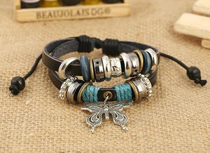 1PCS Fashion Women Men Vintage Multilayer Butterfly Wood Bead Leather Braided Strand Bracelet