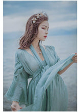 Load image into Gallery viewer, Cotton and linen literary dress long skirt national style women s lanterns sleeves huge hem dress