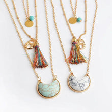 Load image into Gallery viewer, MULTILAYER STONE PENDANT Colorful Bohemia Style Tassel Necklace
