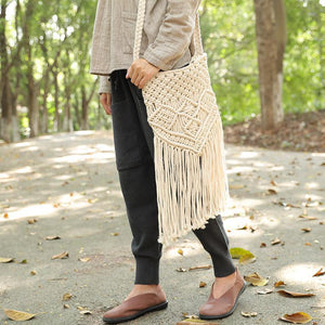 Delicate Knitted White Tassel Zipper Shoulder Bag For Women