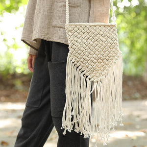 Women Portable Zipper Cotton Linen Knitted Small Shoulder Bag
