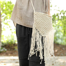 Load image into Gallery viewer, Women Portable Zipper Cotton Linen Knitted Small Shoulder Bag