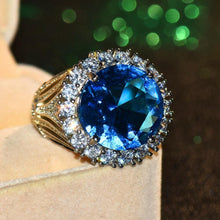 Load image into Gallery viewer, Female Big Blue Stone Ring
