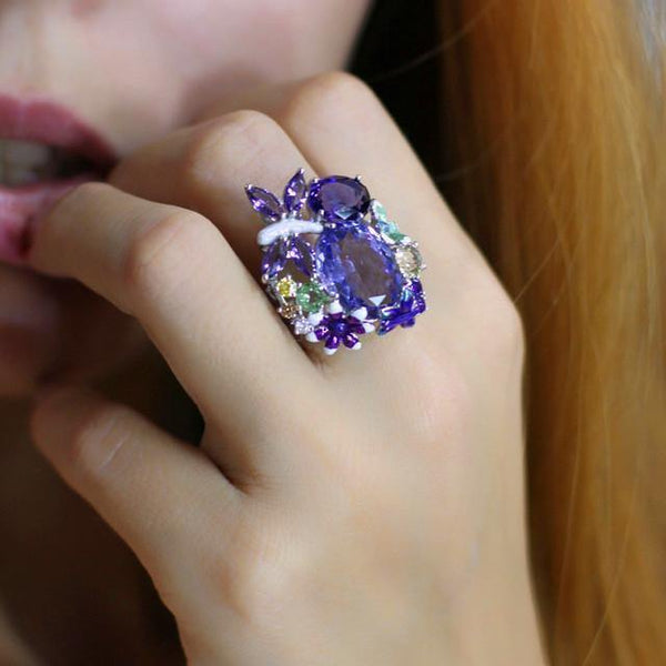 Luxury Female Big Oval Dragonfly Flower Unique Style Silver Purple Vintage Rings