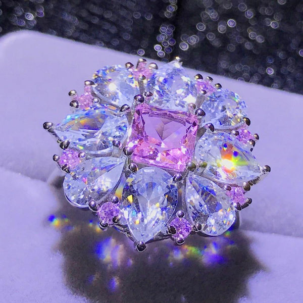 Luxury Female Big Pink Stone Ring