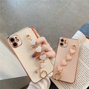 Luxury Plating Love heart chain Wrist Bracelet soft case for iphone 12 Pro Max MiNi 11 pro max X XS XR 7 8 Plus SE 2020 Cover
