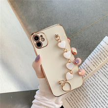 Load image into Gallery viewer, Luxury Plating Love heart chain Wrist Bracelet soft case for iphone 12 Pro Max MiNi 11 pro max X XS XR 7 8 Plus SE 2020 Cover