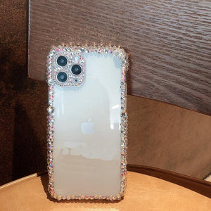 Luxury fashion Bling Rhinestone Gem diamond Soft phone case for apple iphone 11 Pro Max 12 MiNi Glitter Camera protection cover