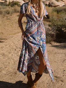 Bohemian Floral V-neck Split Beach Long Dress
