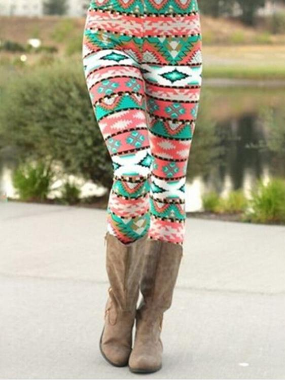 Green Geometric Pattern Christmas Warm Leggings