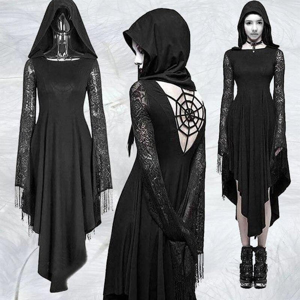 Gothic Black Spider Web Decorations Hat Backless Long Sleeve lace Hem Punk Rock Dress