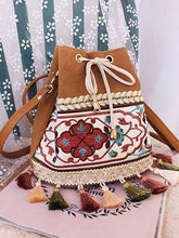 Load image into Gallery viewer, Bohemian Embroidered Tassel Bucket Bag Crossbody Bag