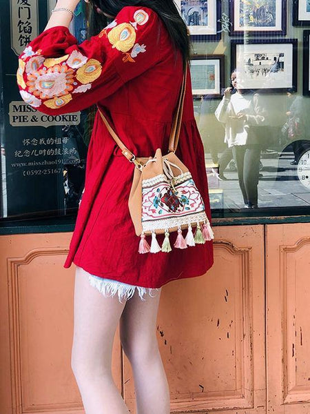 Bohemian Embroidered Tassel Bucket Bag Crossbody Bag
