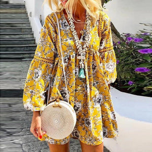 Women Bohemian Floral Long Sleeve Mini  Festa V-Neck Ruffle Bandage  Elegant Holiday Beach Dress