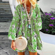 Load image into Gallery viewer, Women Bohemian Floral Long Sleeve Mini  Festa V-Neck Ruffle Bandage  Elegant Holiday Beach Dress