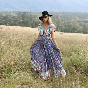 Blue Off-the-shoulder Bohemia Maxi Chiffon Floral Print Dress Beach Style Vacation Dress