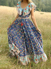 Load image into Gallery viewer, Blue Off-the-shoulder Bohemia Maxi Chiffon Floral Print Dress Beach Style Vacation Dress