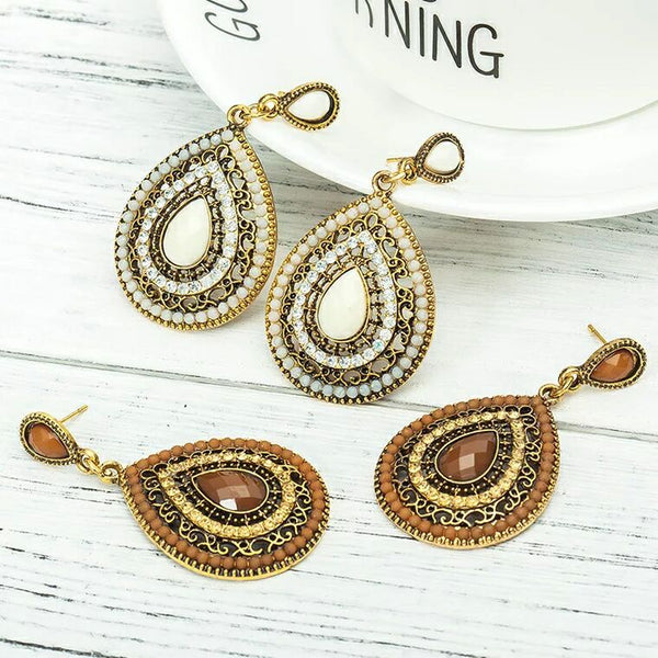 Vintage earrings fashion jewelry bohemia elegant gem rhinestone for women Xmas party