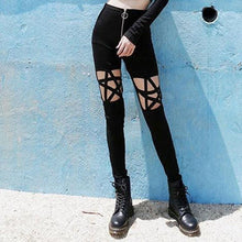 Load image into Gallery viewer, Gothic Hollow Out Pentagram Black Leggings Women Pencil Cool Sexy Pants