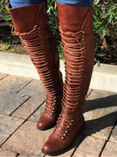 Load image into Gallery viewer, Winter Low Heel Solid Color Lace Up Riding Boots