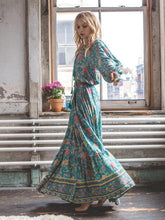 Load image into Gallery viewer, Floral Split-front Puff Sleeves Bohemia Maxi Dress
