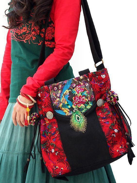 National style retro college literary embroidery one shoulder slung mobile handbag peacock