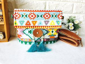 Bohemian fringed wide shoulder strap geometric envelope bag crossbody bag
