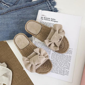 Casual Bowknot Design Hempen Cord Flat Slippers