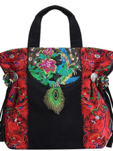 Load image into Gallery viewer, National style retro college literary embroidery one shoulder slung mobile handbag peacock