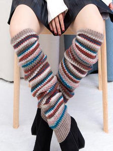 Warm Stripe Over Knee-high Stocking