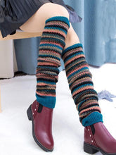Load image into Gallery viewer, Warm Stripe Over Knee-high Stocking