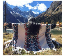 Load image into Gallery viewer, Autumn Tibetan Ethnic Tassel Split Thick Knit Shawl Cloak Scarf