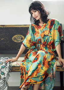 Boho Batwing Sleeves Sunflower Printed Maxi Dress
