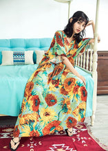 Load image into Gallery viewer, Boho Batwing Sleeves Sunflower Printed Maxi Dress