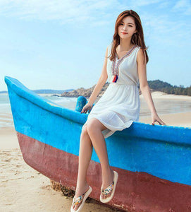 Bohemian Flip-Flops Thick Bottom Middle Heel Beach Shoes