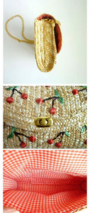 Bohemia Vacation Beach Bag Hand Embroidered Cherry Straw Woven Bag Diagonal Bag