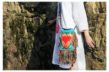 Load image into Gallery viewer, Plant Dyeing Handmade Heart Pattern Long Tassel Cross Shoulder Bag