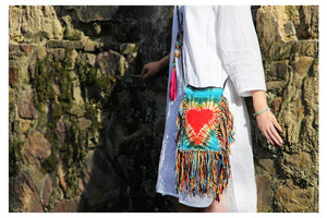 Plant Dyeing Handmade Heart Pattern Long Tassel Cross Shoulder Bag