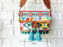 Load image into Gallery viewer, Bohemian fringed wide shoulder strap geometric envelope bag crossbody bag