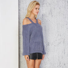 Load image into Gallery viewer, Winter Sexy Off The Shoulder Solid Color Knit Sweater