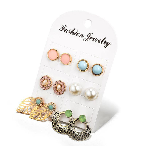 Girls Stud 6 Pairs Lot Cute Thai Style Earrings Jewelry Accessories