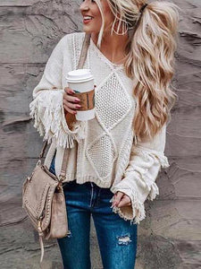 Tassel Knitting Solid Color Pullover Sweater