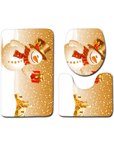 Load image into Gallery viewer, Christmas Snowman Pattern Three-Piece Bathroom Carpet