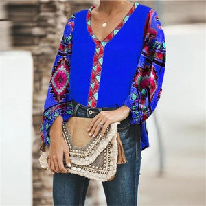 Autumn Floral Print Loose Casual Long-sleeved Women Shirt Tops