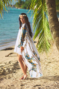 Plus Size Beach Robe Floral Long Sleeve Cover Up