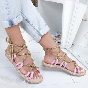 Women Fashion Summer Flat Shoes Colorful Hemp Rope Lace Up Gladiator Sandals